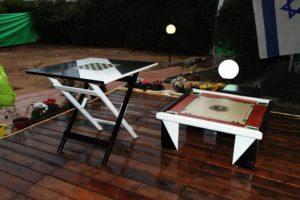 Társasjáték beépített terasz télikert